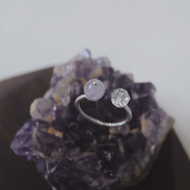 Herkimer Diamond Lavender Amethyst Crystal Gemstone 925 Silver Ring