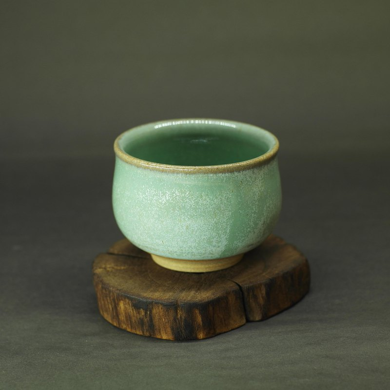 Green glazed teacup hand made pottery tea props