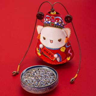 Xizi cat | pure hand made cat embroidery sachet lavender sachets star people lucky cat bag pendant