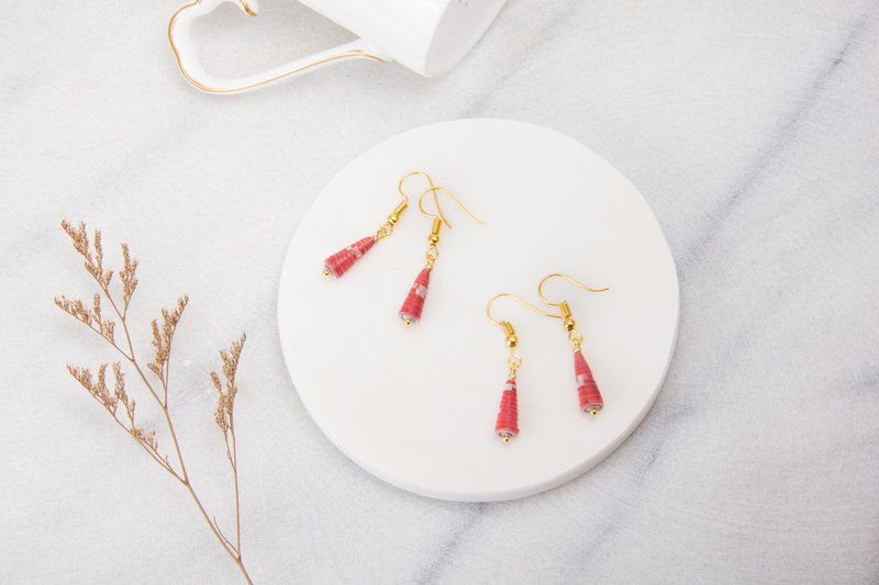 Famous Painting Series - Red Pattern Single Cone Earrings