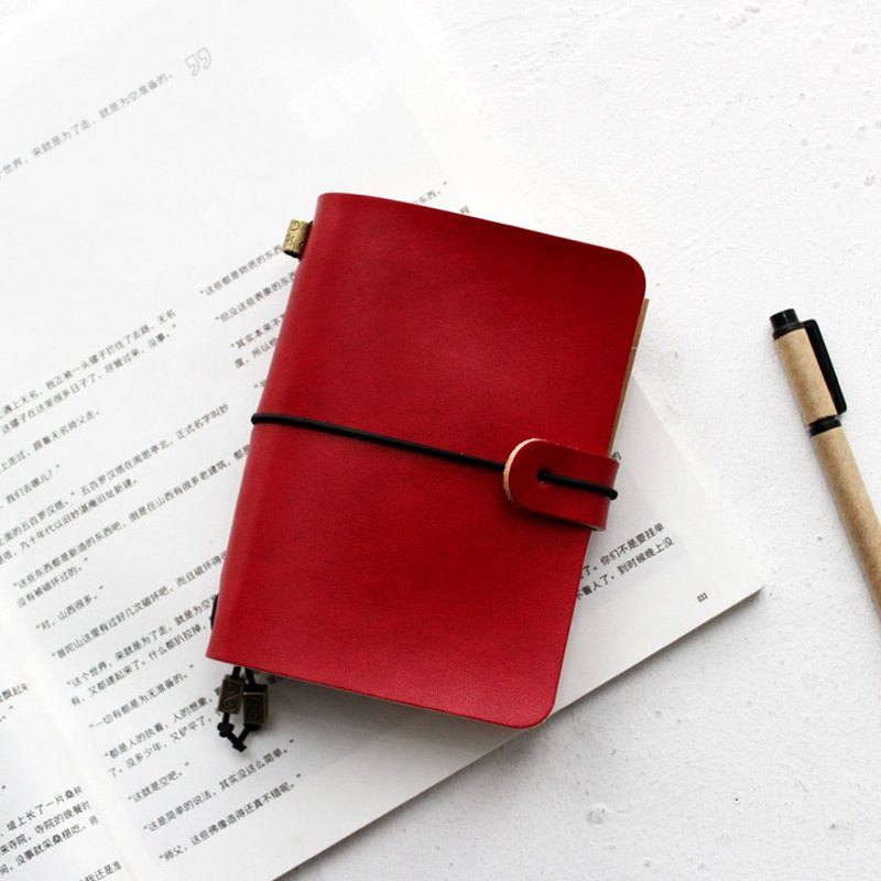 Ru Wei even dyeing red 14 * 10m notebook leather notebook / diary / travel notebook / notepad can be customized free lettering exchanging gift wedding gift lover gift birthday gift