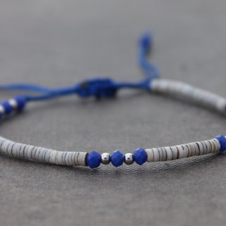 Blue Faceted Beaded Tibetan Adjustable Hippy Hipster Dainty bracelets