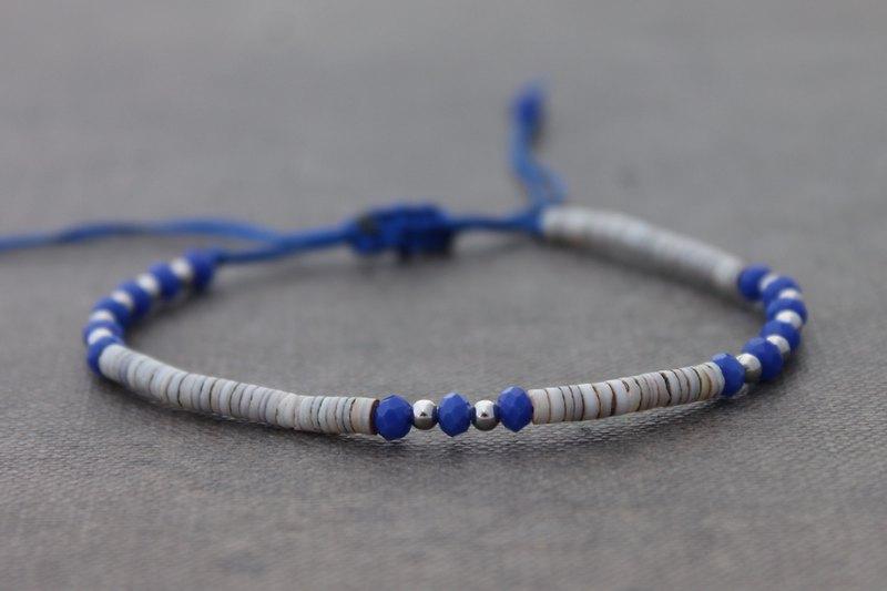 藍色切面串珠西藏可調節嬉皮時髦精緻手鐲