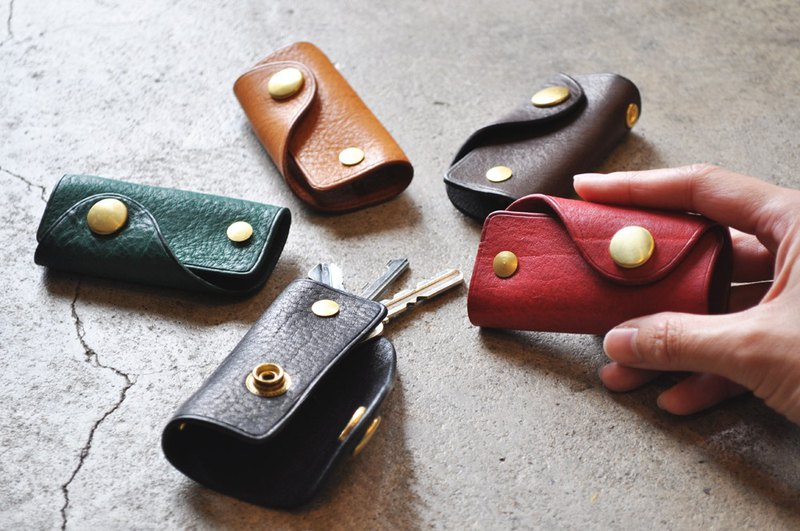 One flap leather key case oil Nume leather 5 color development