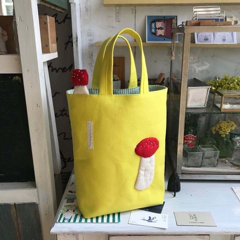Red mushroom tote / mustard yellow bottom