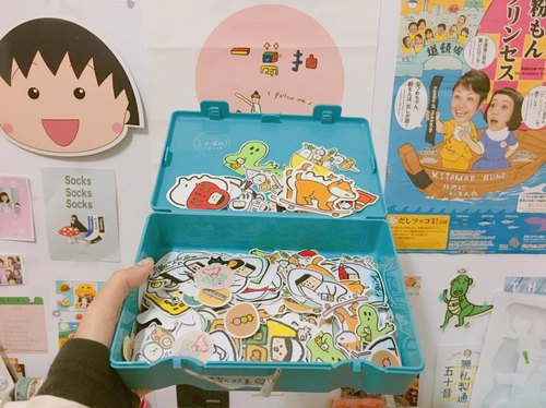 Sticker / Scattered sushi concept combination in drawer