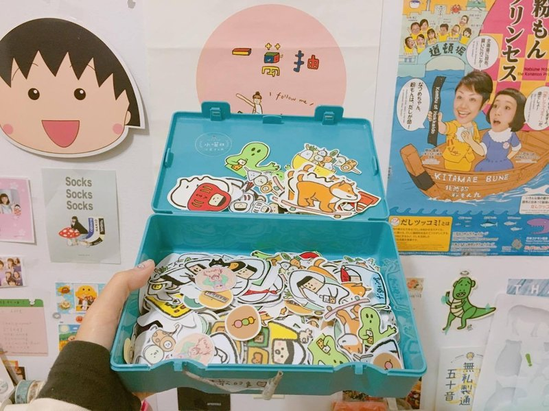 Sticker in drawer / loose sushi concept combination