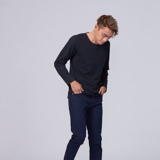 Organic Cotton Top Black Crew Neck Long Sleeve/Hem Split (Men/man) Organic Cotton