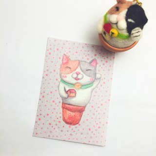 Hand-painted postcard _ Man Fu Bao lucky gift card / New Year's card
