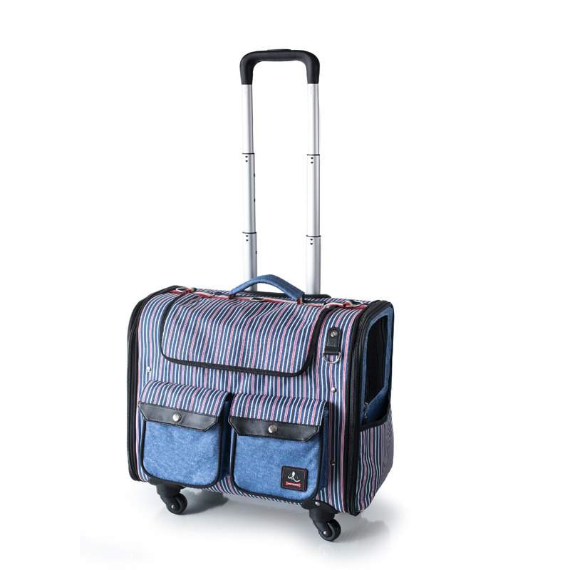 An Qi circle six kilograms on the window window pet trolley case _ classic stripes