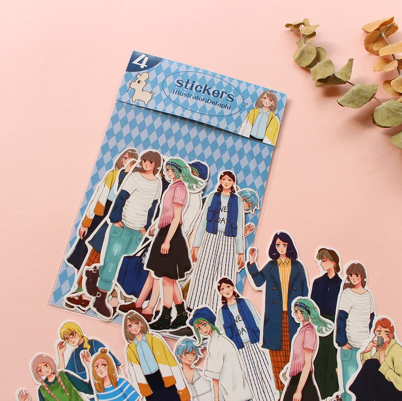 Tanin Girl Series (4) / 12 into account stickers diary stickers