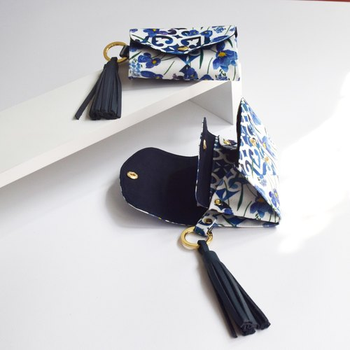 Pocket Keying - Floral on tile with Real Leather Tassel