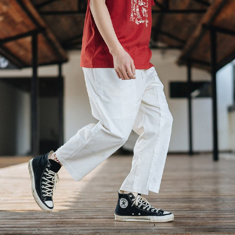 PROS BY CH white stitching pants men and women Japanese contrast color irregular white wild casual pants