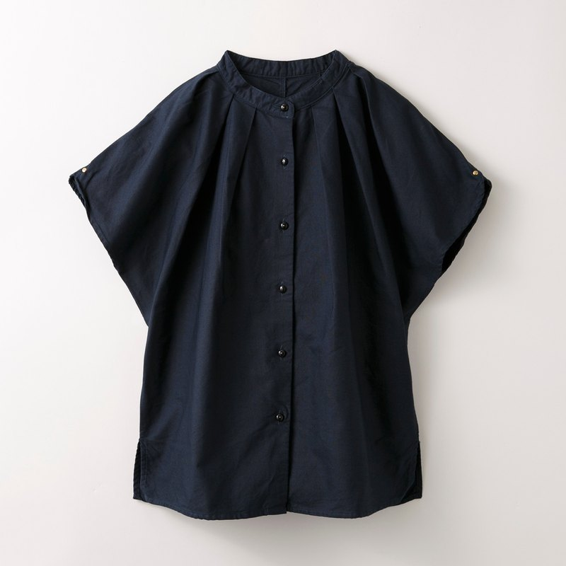 Stand collar tuck shirt - burdock -