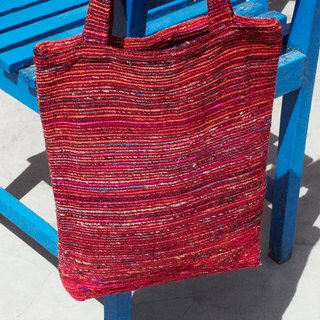 Limited handmade sari cloth striped light bag / sari backpack / side bag / shoulder bag / sari line travel bag - starry red stripes