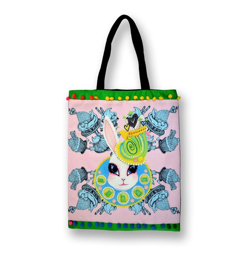 GOOKASO double-sided shopping bag TOTE BAG pink rabbit queen cotton and linen printed pattern back Japanese kimono brocade decorated with colorful beads lace