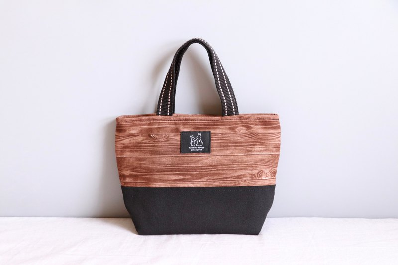 Wood grain printed lightweight handbag