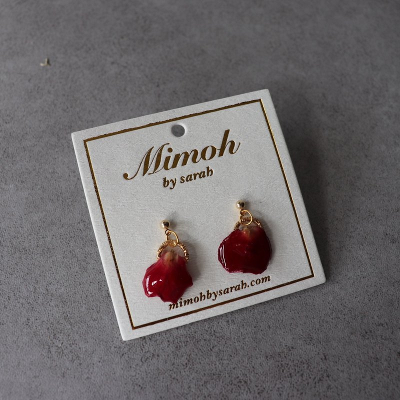 Red Rose Petals Earrings