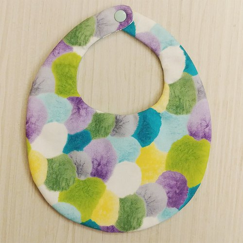 Purple hair ball double-sided hand-made bib / Miyuki gift birthday gift Christmas gift