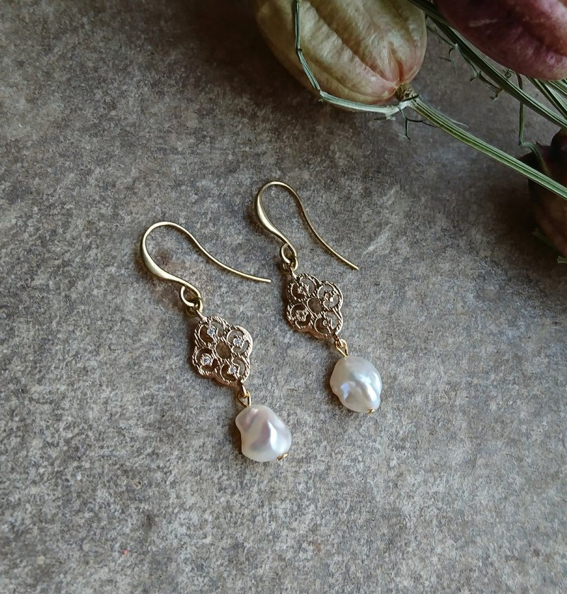 Elegant Filigree Baroque Pearl Earrings