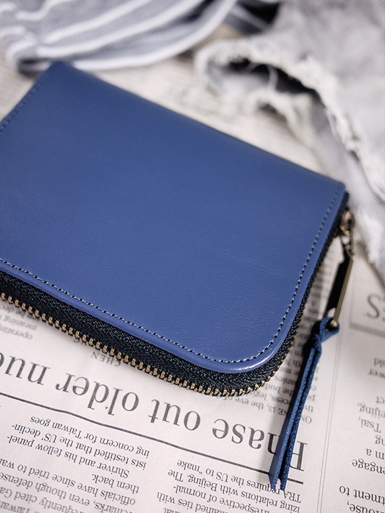 Blue fog. Classic leather short clip / wallet / wallet / purse