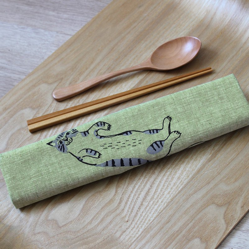 All-in-one cutlery set GoodafternoonworkXPearlCatCat hand-printed tiger cat
