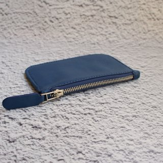 Deep blue lambskin very thin wallet