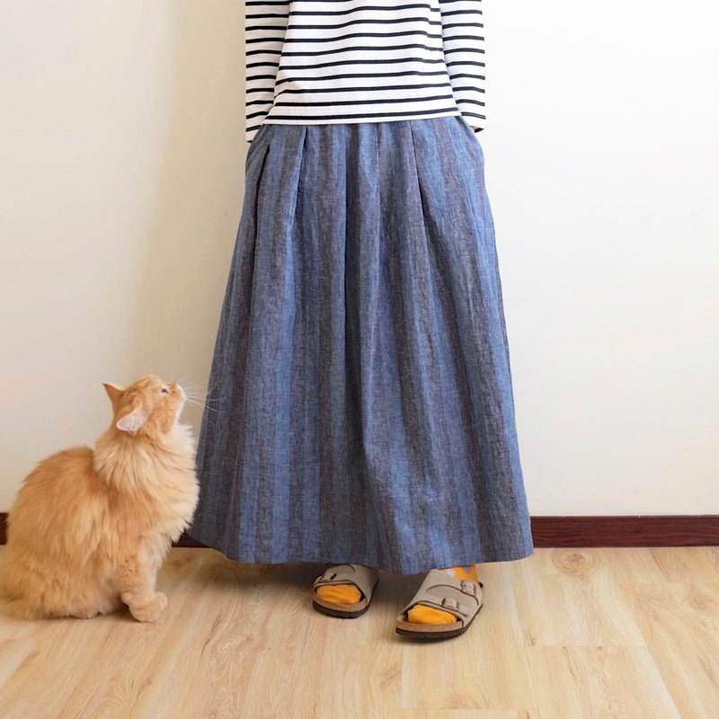 Daily hand made clothing fog black blue stripes wide pleated long skirt linen cotton