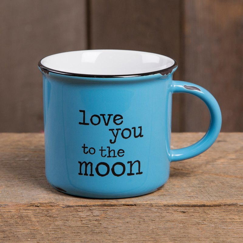 Imitation enamel mug-Love U to the moon∣MUG249