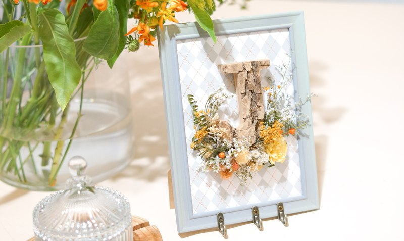 Fresh yellow and green with dry flower letter frame (with hook)