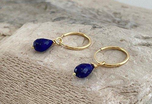 K18天然青金石◆星光珠寶◆K18金圈耳環