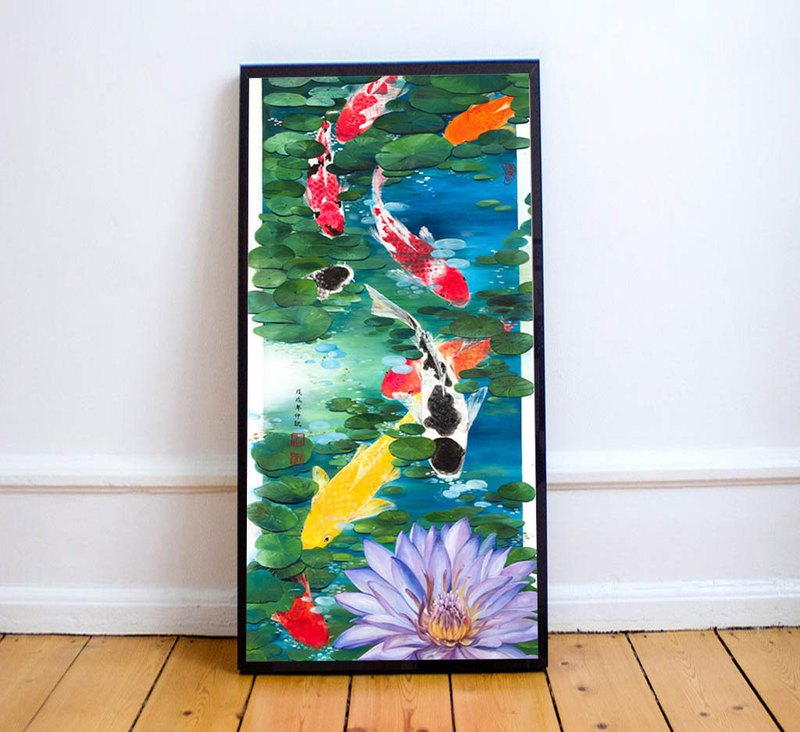 【Koi Fish】Original Oil Painting. Feng Shui Decoration. Oriental Lotus Fish Pond