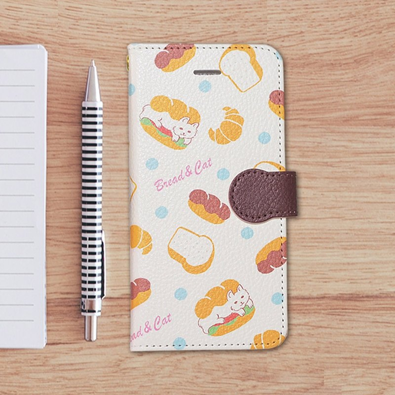 Notebook type phone case - Bread and Cat -