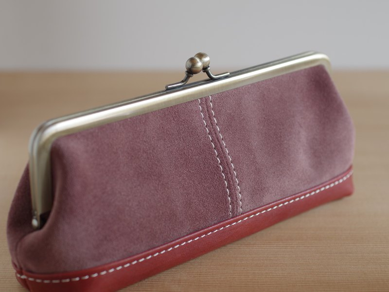 Leather bag pen case (glass case) cocoa brown