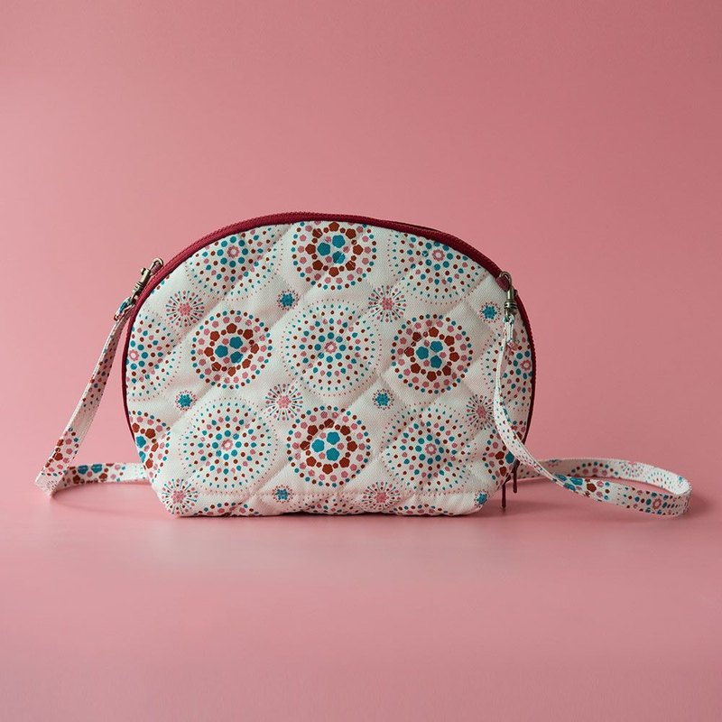 Bun-Shaped Quilted Crossbody Bag / Firework / Gorgeous Pink