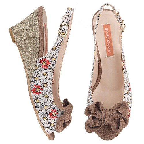 【Summer must buy】SPUR Dahila blossom wedges FS8090 BEIGE(Cannot be exchanged)