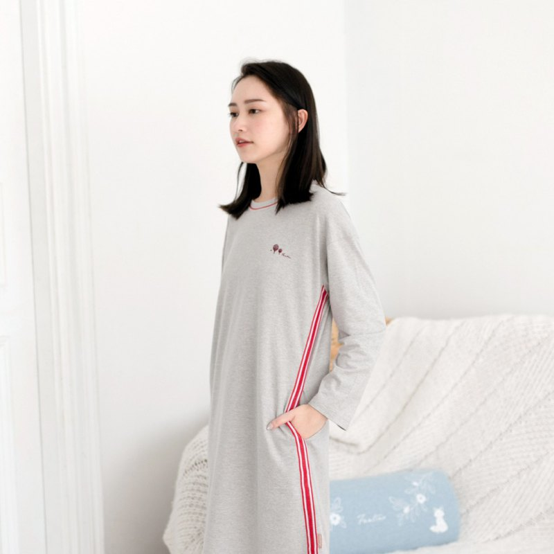 Pure organic cotton sports wind ribbon round neck dress │ home clothes - light gray