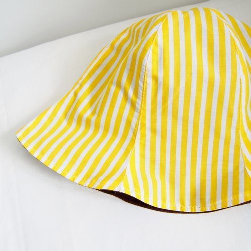 Yellow and White Stripe - Handmade Bucket Hat | Double sided