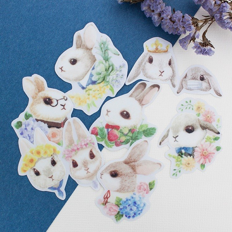 Outdoor stickers -Bunny and Floral- Choose 4 pieces