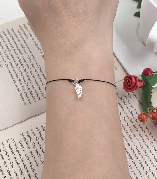 *Le Bonheur happy Line line*925 sterling silver wings wing red light invisible wings to fly ultra-fine wire bracelet black line