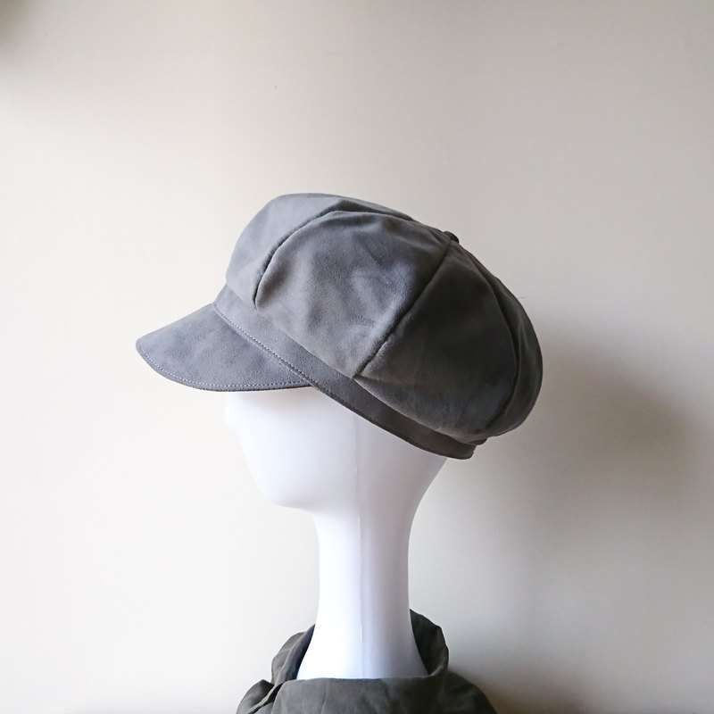[Fashion Cloister] Suede Newsboy Hat - Galaxy Grey