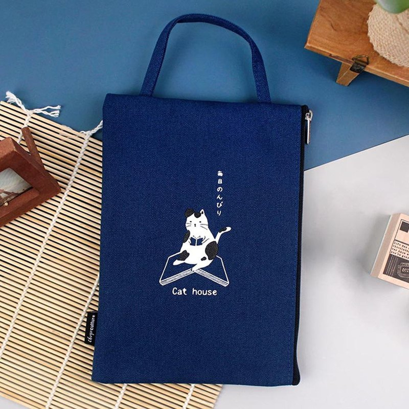 A6/50K Taiwan cotton straight portable zipper with book bag portable (log applicable) -03 navy blue