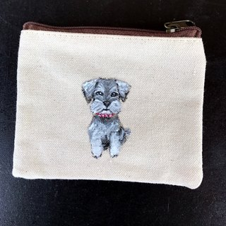 Hand-painted design wool child Schnauzer purse exchange gifts