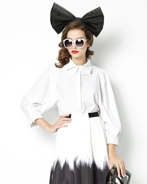 Bubble sleeve double collar long-sleeved shirt Blouse with Bishop Sleeve