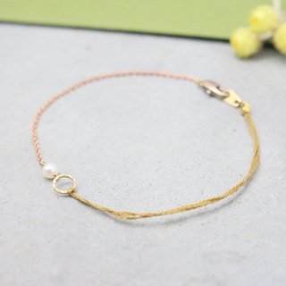 <☞ HAND IN HAND ☜> natural pearl - soft bracelet (0770)