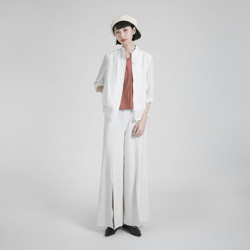 Extend extended slit wide pants _8SF202_ white stripes