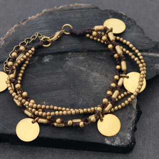Woven Brass Beads Charm Bracelets Brass Disc Coin Multi Strand Layer Bracelets