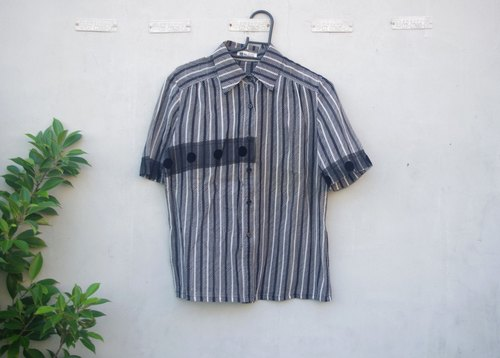 4.5studio- [Re;] - resyle transformation vintage - Op Art black and white lines chiffon shirt