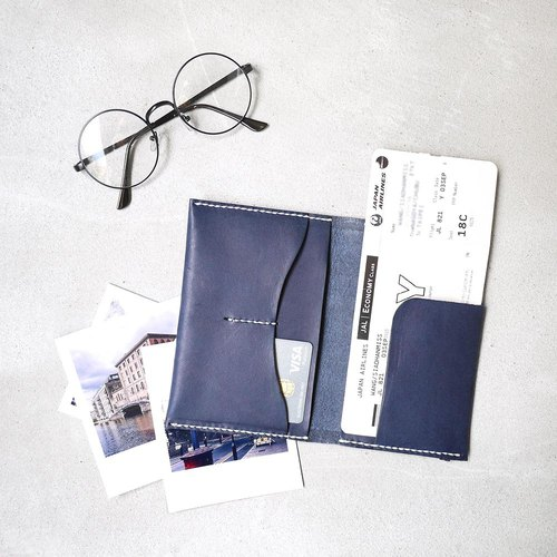 Free journey simple hand-stitched multi-layer leather passport cover Made by HANDIIN