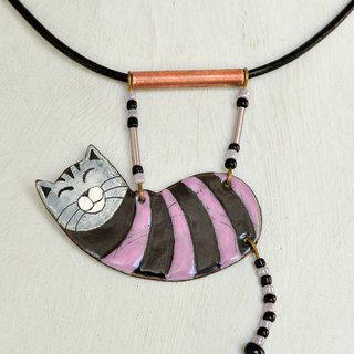 Enamel Cat, Enamel Necklace, Cat Necklace, Black Cat, Black and Purple, Boho Cat
